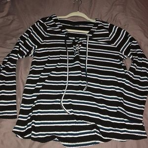 torrid Sweaters - Stripped sweater ( Black, white, and blue)